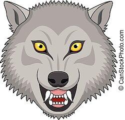 tatouage, fâché, tête loup
