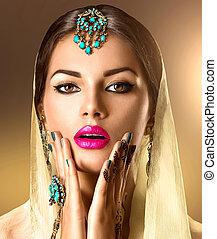 tatouage, femme, elle, beauté, mehndi, indien, portrait., mains, girl, modèle