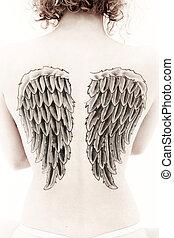 tatouage, femme, sépia, dos, aile