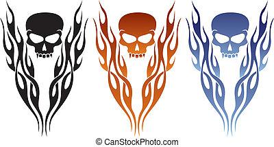 tatouage, flamme, crâne