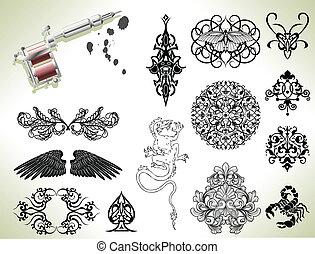 tatouage, flash, éléments conception
