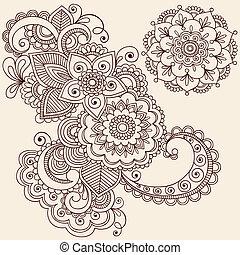 tatouage, henné, éléments conception, mehndi