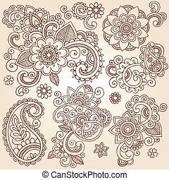 tatouage, henné, conception, fleur, éléments