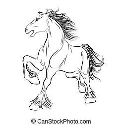 tatouage, image, vecteur, cheval
