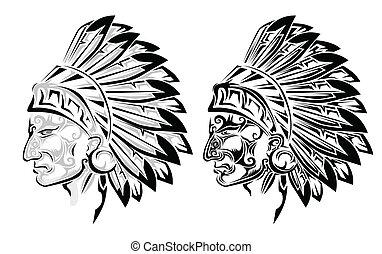 tatouage, indien amérique, chef