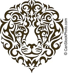 tatouage, lion, vecteur, illustration