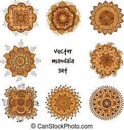 tatouage, mandala, ensemble, henné