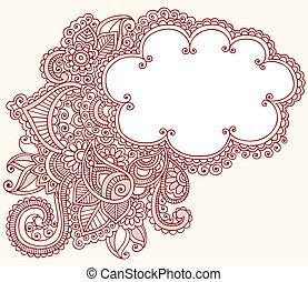 tatouage, mehndi, henné, nuage, doodles