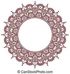 tatouage, modèle, henné, indien, fond, mehndi, ou