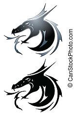 tatouage, noir, dragon
