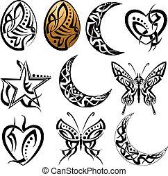 Tatouage toile lune styles tatouage diff rent toile clipart vectoriel rechercher - Tatouage pleine lune ...