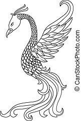 tatouage, oiseau, phénix