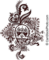 tatouage, paisley, crâne, rocher