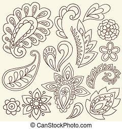 tatouage, paisley, vecteur, henné, doodles