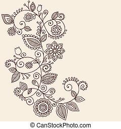 tatouage, paisley, vecteur, henné, vignes
