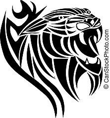 tatouage, panthère, conception, vendange, engraving.