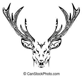 tatouage, résumé, cerf, tête,  tribal