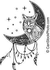 tatouage, renard, t-shirt, boho, vecteur, conception, impression, ou