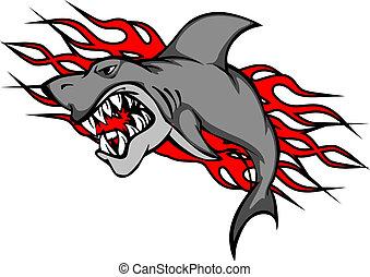 tatouage, requin,  danger