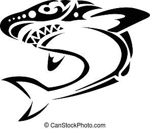 tatouage, requin, tribal