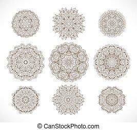 tatouage, style, ensemble, indien, (mandala), henné, -, mehendi, traditionnel, vecteur, neuf, ethnique, orné, cercle, design.