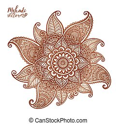 tatouage, style, henné, élément, vecteur, mehndi, floral