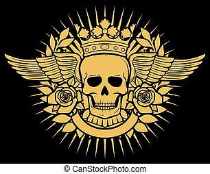 tatouage, symbole, crâne