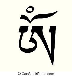 tatouage, symbole om, -, prêt, conception, impression, tibétain