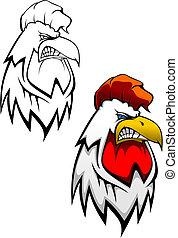 tatouage, tête, coq