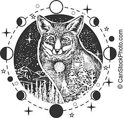 tatouage, tête, renard, t-shirt, vecteur, conception, impression, ou
