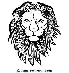 tatouage, tête, t-shirt., croquis, illustration, lion, vecteur, animal, design.