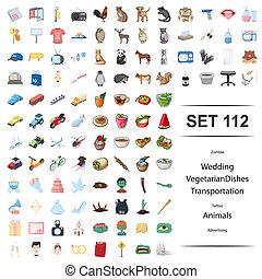 tatouage, transport, végétarien, zombi, set., plats, illustration, vecteur, mariage, publicité, animal, icône
