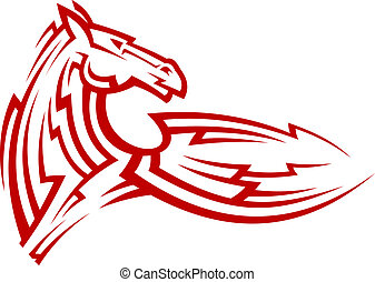 tatouage, tribal, cheval, mustang, rouges