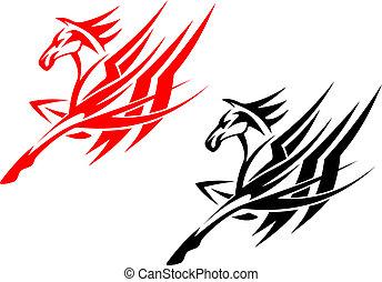 tatouage, tribal, cheval