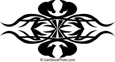 tatouage, tribal, conception, vendange, engraving.