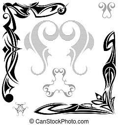 tatouage, tribal, ensemble, noir, éléments