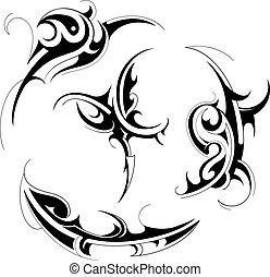 tatouage, tribal, ensemble