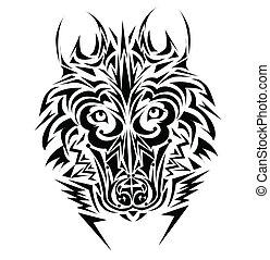 tatouage, tribal, loup, style