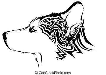 tatouage, tribal, loup