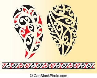 tatouage, tribal, maori, ensemble