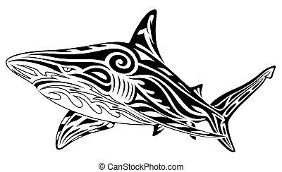 tatouage, tribal, requin