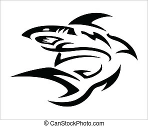 tatouage, tribal, -, requin, conception