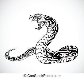 tatouage, tribal, serpent