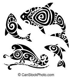 tatouage, tribal, set.