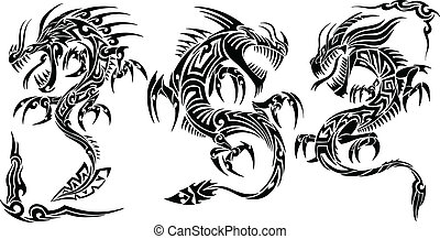 tatouage, tribal, vecteur, ensemble, dragon