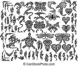 tatouage, tribal, vecteur, ensemble, iconique