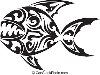 tatouage, tribal, vecteur, fish