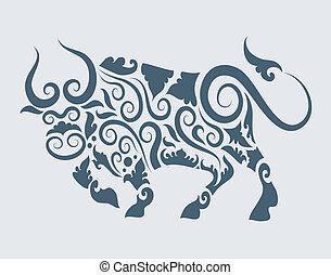 tatouage, vecteur, conception, taureau
