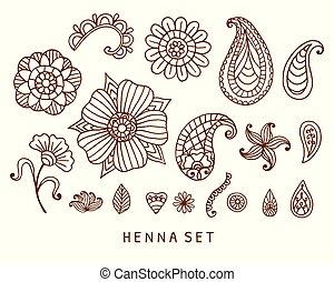 tatouage, vecteur, ensemble, henné, doodles