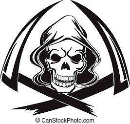 tatouage, vendange, reaper, conception, faux, sinistre, engraving.